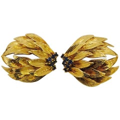 1960s Luscious Leaves and Sapphire Gold Earrings
