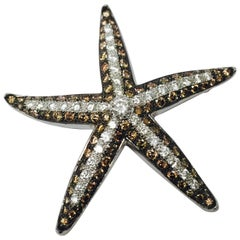 Stunning Champagne White Diamond White Gold Starfish Brooch