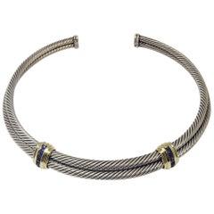 David Yurman Iolite Sterling Double Cable Choker