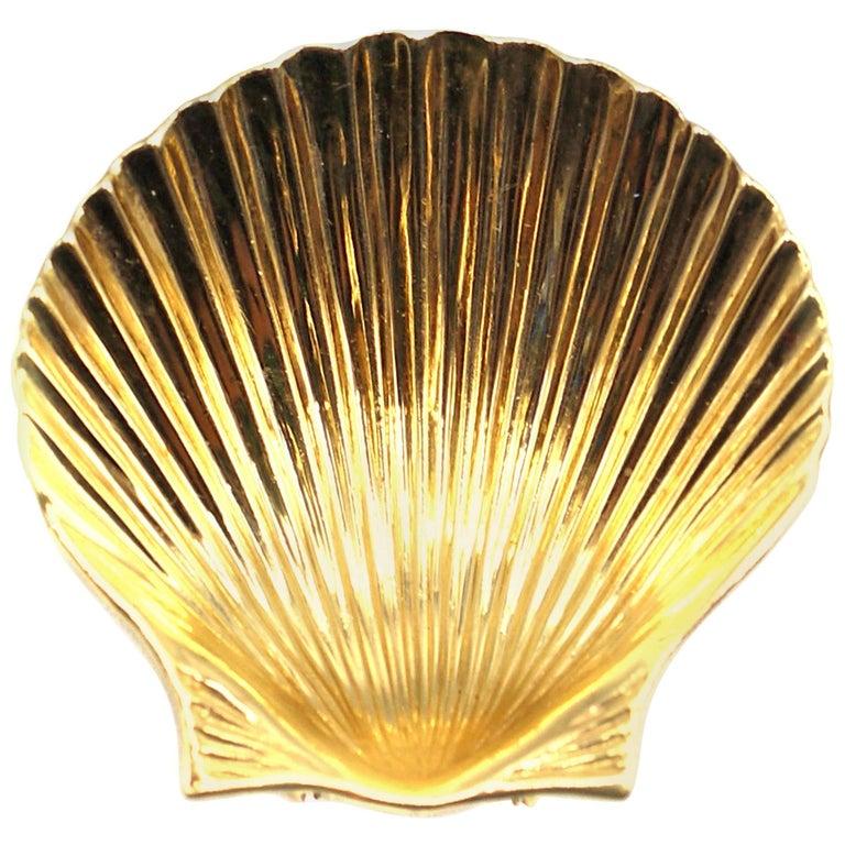 Tiffany & Co. Retro Yellow Gold Seashell Clip Brooch