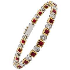 9.97 Carat Ruby Diamond Gold Bracelet