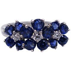 Oscar Heyman Bros Sapphire Diamond Platinum Flower Ring
