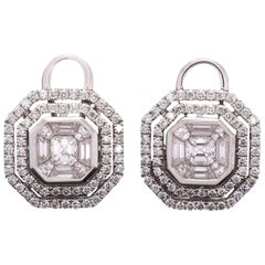 1.47 Carat Mixed Cut Diamond White Gold Earrings