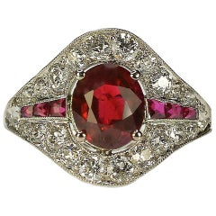 Art Deco Burma Ruby Platinum Ring