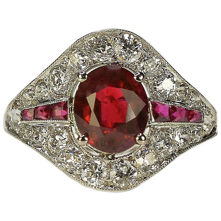 Art Deco Burma Ruby Platinum Ring For Sale