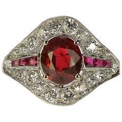 Art Deco Burma Ruby Platinum Ring