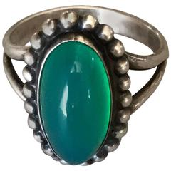Georg Jensen 830 Silver and Chrysoprase Ring, No. 9