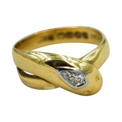 Antique Gold Snake Ring with Diamond Studded Head