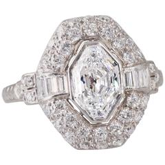 French Art Deco Diamond Platinum Plaque Ring with Modified Baroness Cut Diamond