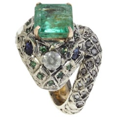 Emerald Diamond Blue Sapphire  Tsavorite Snake rose gold and silver Ring