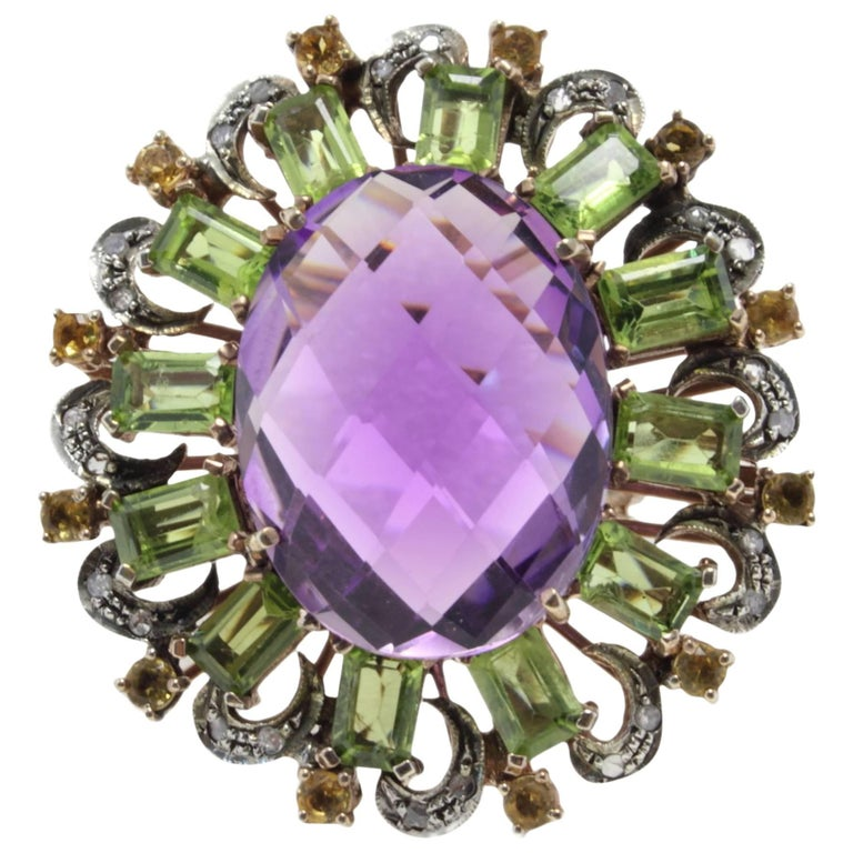 Rose Gold Amethystt Peridot Topaz Diamond Ring