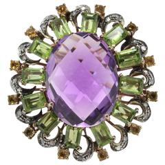 Luise Rose Gold Amethystt Peridot Topaz Diamond Ring