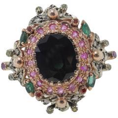 Luise Rose Gold Sapphire Emerald Ruby Diamond Ring