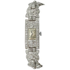 1930s Antique Art Deco Diamond and Platinum Bucherer Cocktail Watch