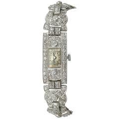 1930s Antique Art Deco Diamond and Platinum Bucherer Cocktail Watch