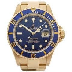 Rolex Submariner 18 Karat Yellow Gold Gents 16618, 2002