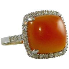 Orange Chalcedony  Diamond  Entourage Ring