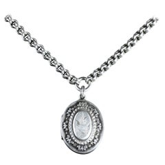 Antique Victorian Silver Locket and Collar Dated 1884