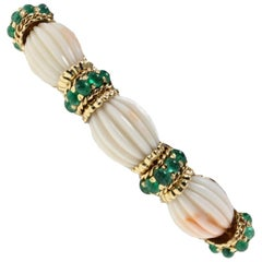 Emeralds, Engraved Pink Corals, 14K Rose Gold Retrò Link Bracelet