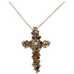 Luise Rose Gold Diamond Sapphire Pearl Pendant