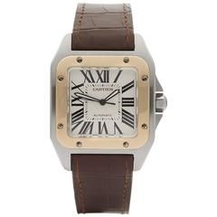 Cartier Santos 100 Stainless Steel and 18 Karat Gold Gents 2656 or W20077X7