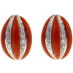 Luise Gold Diamond Coral Earring