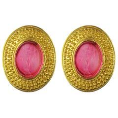 Italian Vermeil Chiseled Decoration Intaglio Stud Earrings