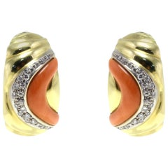 Gold Diamond Coral Clip-On Earring