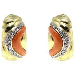 Luise Gold Diamond Coral Clip-On Earring