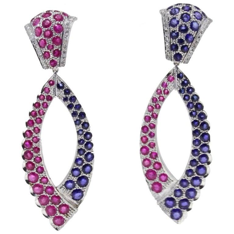 Gold Diamond Sapphire Ruby Drop Gold Earring