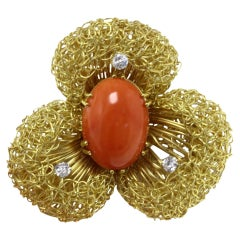 White Diamonds, Oval Shape Red Coral,18K Yellow Gold Flower Design Brooch