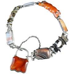 Antique Victorian Scottish Agate Padlock Bracelet, circa 1860