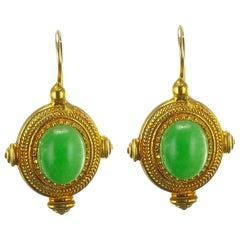 Green Crystal Greek Revival Vermeil Drop Earrings