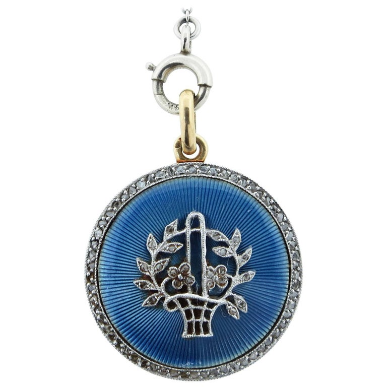 Lovely Antique Enamel and Diamond Locket with Chain