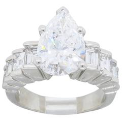 2.62 Carat Pear Centre Diamond Engagement Ring