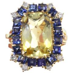 Luise Rose Gold Diamond Sapphire Topaz Ring