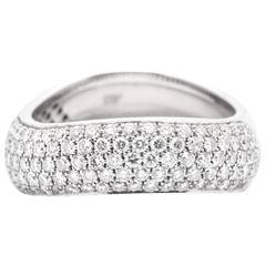 Pave Set Diamond White Gold Wave Ring