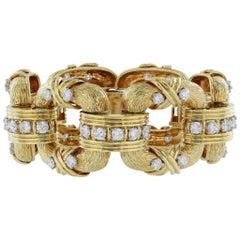 Diamond Gold Square Open Link Bracelet