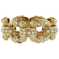 Diamond Gold Square Open Link Bracelet