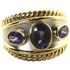 Iolite Sterling Silver Gold-Plated Ring