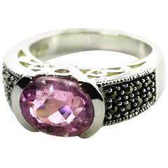 Pink Purple Kunzite Sterling Silver Ring