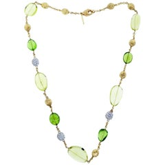 MarCo Bicego Peridot Citrine and Diamond Necklace