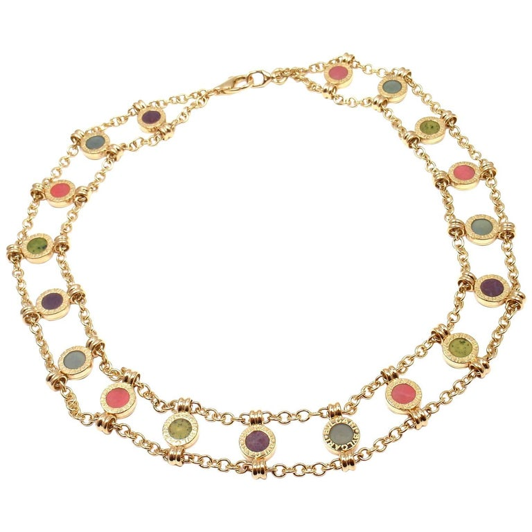 Bulgari Coral Amethyst Agate Yellow Gold Link Necklace