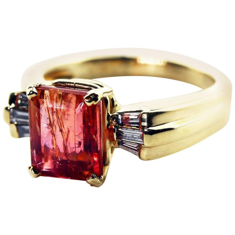 4.3 Carat Imperial Topaz and Diamond 14Kt Yellow Gold Ring