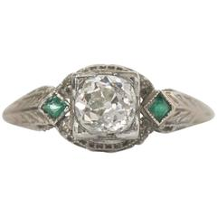 1920s Art Deco  GIA Certified Diamond and Emerald Ring