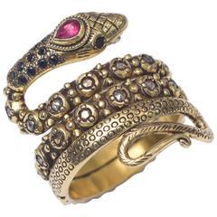 Diamond Sapphire Ruby Snake Gold platinum Ring