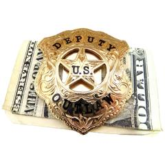 Phenomenal Custom-Made Gold Deputy U.S. Outlaw Badge Enamel Money Clip