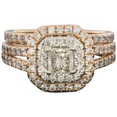 Rose Gold Princess Diamond Double Halo Engagement Ring and Wedding Band Set