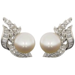 Certified Estate Platinum Akoya Cultured Pearl and Diamond Swirl Earrings
