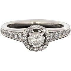 White Gold Round Brilliant Diamond Halo Engagement Ring